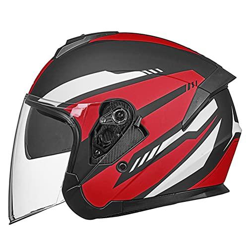 WWJJLL Casco de Motocicleta de Cara Abierta, Certificación de Puntos Casco de Motocicleta con Lente Dual Anti-Niebla Casco de Carreras de Motocicletas Unisex,2,XL