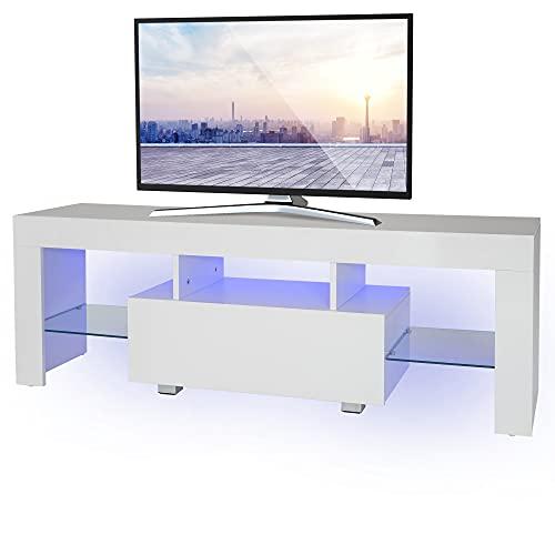 ML-Design TV Lowboard in Holz mit LED-Beleuchting und Glasregal für Fernseher, Modernes Fernsehtisch, 130x49x45cm, Weiß, Griffloses Design, Fernsehschrank TV-Möbel TV-Schrank TV-Regal, für Wohnzimmer
