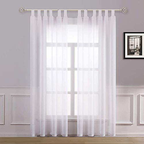 Dreaming Casa Sheer Voile Curtains White Woven Transparent Tab Top Drape Tulle 2 Panels Window Voile Treatment Net for Living Room Elegant 55' wide x 94' drop (140cm x 240cm)