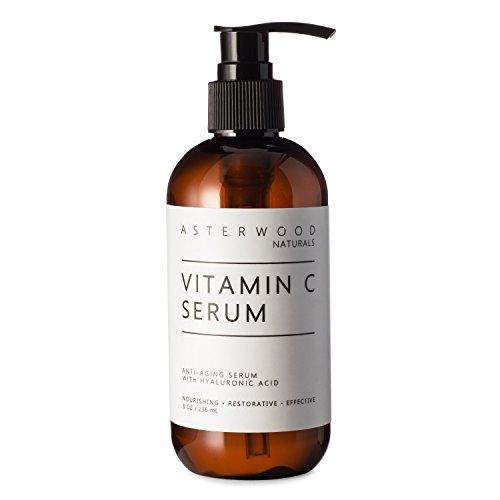 Vitamin C 8 oz Serum with Organic Hyaluronic Acid, Diminish Sun Spots Anti Aging Anti Wrinkle Oxygen Stable and PH Balanced MAP Vitamin C, Classic Formula ASTERWOOD NATURALS Pump Bottle