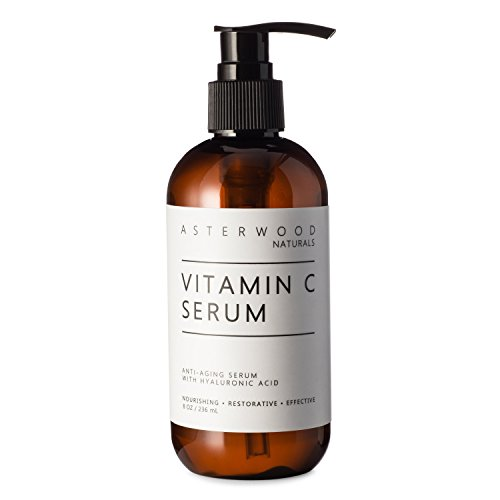 Vitamin C 8 oz Serum with Organic Hyaluronic Acid, Lighten Sun Spots Anti Aging Anti Wrinkle Light and Oxygen Stable MAP Vitamin C, Classic Formula ASTERWOOD NATURALS Pump Bottle