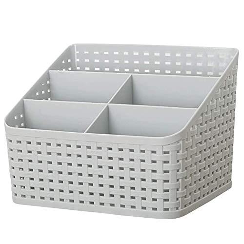 Apofly Caja De Almacenamiento De Escritorio con Compartimentos Imitado Rattan Organizador Cosmético Caja Cesta Versátil Clasificación Caja para El Dormitorio Baño Cocina (Gris)