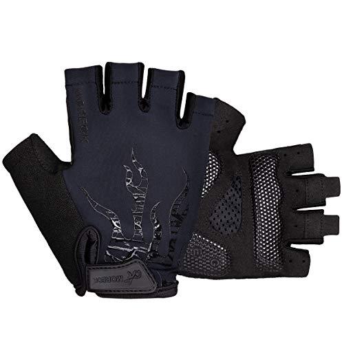 BTNEEU Fingerlose Fahrradhandschuhe mit Gel Mountainbike Handschuhe Halbfinger Männer, Atmungsaktiv Trainingshandschuhe Rennrad Handschuhe Radhandschuhe MTB Handschuhe für Damen Herren (schwarz, L)