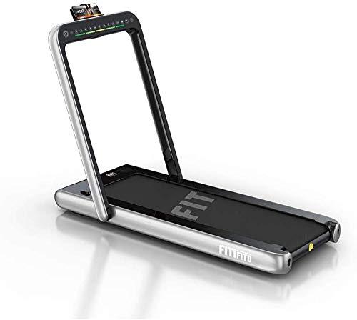 Fitifito ST100 2021 Edles Laufband Walkingpad im Büro zuhause 1.0-12 km/h Bluetooth Fernbedienung komplett klappbar verstaubar mit Handyhalter Dualer Bildschirm (Silber)