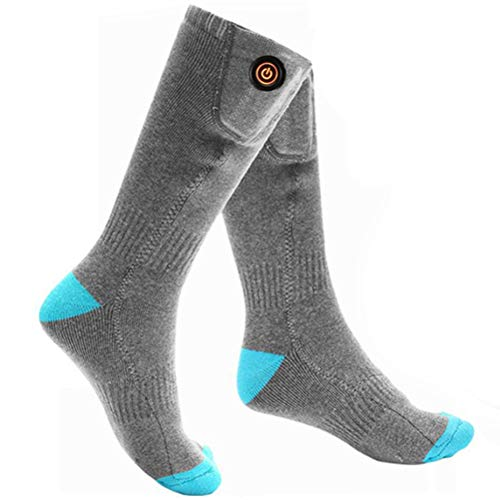 BASOYO 1 Pair Rechargeable Electric Heated Socks Unisex Thermo Socks Cold Winter Thermal Socks for Outdoor Sport Camping
