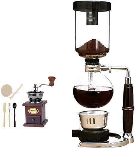Kaffeemaschine SKTY Weitergehende manuelle Kaffeemühle -Siphon Kaffeemaschine Set Syphon Syphon Kaffeekanne Set 13 * 35,5 cm (3 Tassen), 13,5 * 37 cm Kaffee Siphon, A, 13 * 35,5 cm (3 Tassen) Traditio