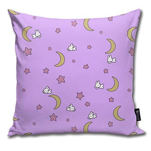 Rasyko Sailor Moon Inspired Bunny Of The Moon Tagesdecke Decke Druck Überwurf Kissenbezug Geschenk Home Couch für Bett Auto Sofa Größe: 45,7 x 45,7 cm