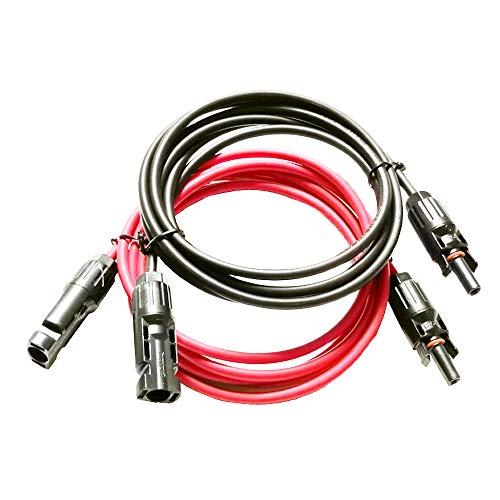 Ficocean Cable de Extensión del Solar con Conectores Macho Hembra, 14 AWG /12 AWG /10 AWG Cable Adaptador PV Fotovoltaicos Rojo Negro para Paneles solares y Sistemas de energía Solar (10 AWG, 2M)