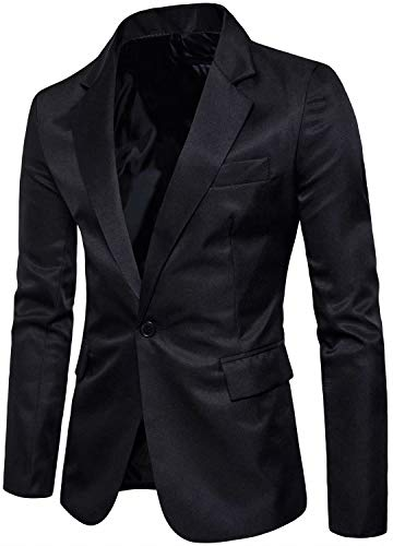 Men's Long Sleeves Peak Lapel Collar One Button Slim Fit Sport Coat Blazer, Black, M/40 = Tag 2XL