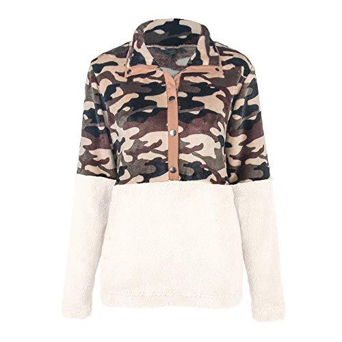 ZHJA Europa Und Die Vereinigten Staaten Frauen Herbst Und Winter Neue Frauen Tarnnähte Pullover Kurzes Plüsch-Shirt Frauen-Pullover