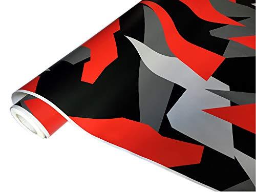 folimac 8,50€/m² Camouflage Autofolie Selbstklebend mit Luftkanäle Schwarz weiß Grau Rot #33 (200cm x 152cm)