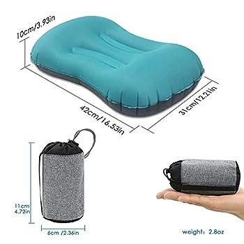 Coussin de voyage ultraléger et léger - Coussin gonflable multifonction pour le camping en plein air, la plage, les vacances, le bureau, les voyages (bleu)