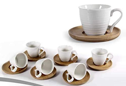 GICOS IMPORT EXPORT SRL Set 6 tazzine Tazze Ceramica Bianche Colazione caffè con piattino in Legno IPP-780530