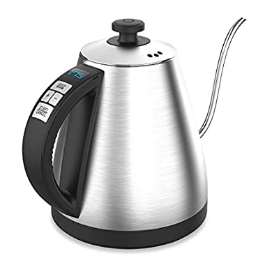 BREVO 1.0L Digital Variable Temperature Electric Gooseneck Kettle for Pour Over Drip Coffee & Tea with 120~212 °F Heating Control 1000W Fast Boiling