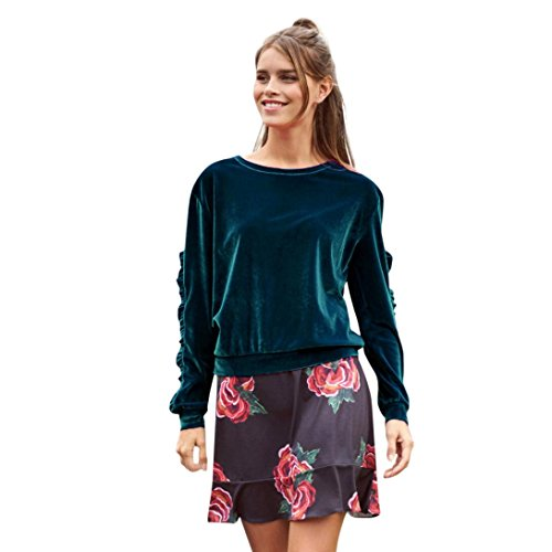 TWIFER Frauen Langarm Samt Solide Rüschen Shirt Beiläufige Bluse T-Shirt (M, Marine)