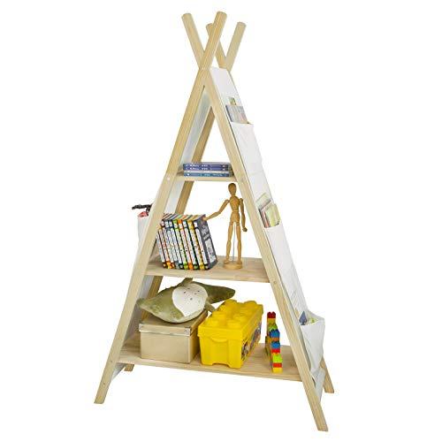 SoBuy KMB30-WN Tipi Kinderregal mit 3 Aufbewahrungsfächer und 6 Taschen Kinder Bücherregal Spielzeugregal Aufbewahrungsregal für Kinder Spielzeugregal Kinderzimmerregal BHT ca.: 93x151x36cm