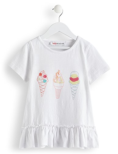Marca Amazon - RED WAGON Camiseta con Dibujo de Helado y Volante Niña, Blanco (White), 110, Label:5 Years