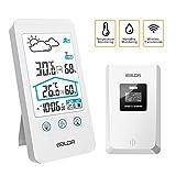 ZILI Station météo sans Fil, Thermomètre numérique intérieur sans Fil pour intérieur Baromètre d'humidité Horloge de Station météo avec capteur extérieur (Blanc)