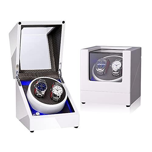 ZCL Vindera automática de Doble Reloj, con iluminación LED Motor Super silencioso Caja de visualización de exhibición de Lujo, 3 configuración de Modo de rotación, D