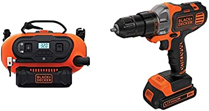 BLACK+DECKER BDINF20C 20V Lithium Cordless Multi-Purpose Inflator (Tool Only) with BLACK+DECKER BDCDMT120C 20-Volt MAX Lithium-Ion Matrix Drill/Driver