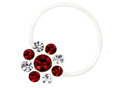 Zehenring Zirkonia Blume klar rot - 925 Sterling Silber - Fuß Schmuck Damen Fuß-Ring Toe-Ring