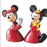 2 Unids / Set Minnie Mickey Mouse Casarse con Muñecas Rojas De Acción Figuras De Juguete para Niños Decoración De Regalo De Boda Regalo para Niños 15Cm
