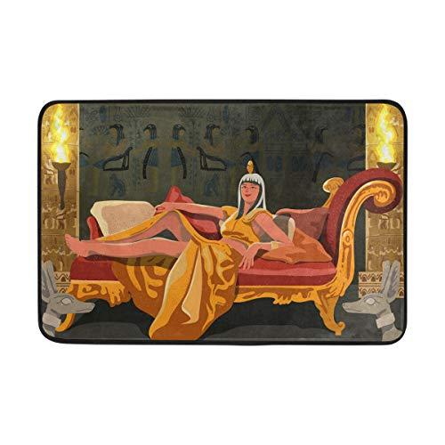 FANTAZIO Fußmatten für Eingangsbereich, Außenbereich, Kleopatra, Ägypten, Pharao, gerade, Teppichgreifer für Küche/Badezimmer, 59,9 x 39,9 cm