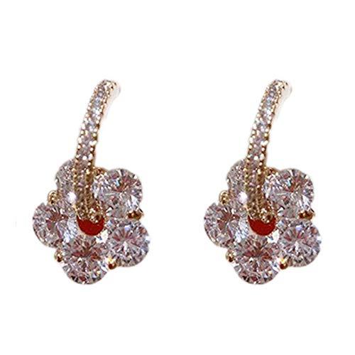 Pendientes de flores de cristal Pendientes de moda de pin de plata con círculo de diamantes de imitación para mujer S925