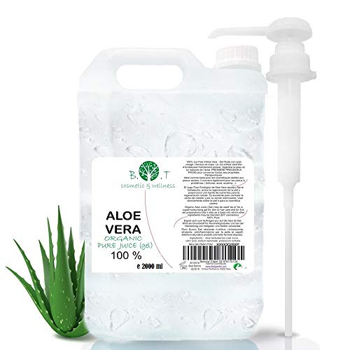 100% Pure Jus d'Aloe Vera Organique (liquide, sans épaississants) (2000 ml) Jus Natif Origine Canaries