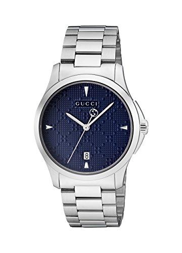 Gucci Unisex Erwachsene Datum klassisch Quarz Uhr mit Edelstahl Armband YA1264025