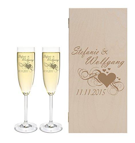LEONARDO 2 Sektgläser mit Geschenkbox und Gravur Herz Hochzeit Geschenkidee Sektglas-Set graviert