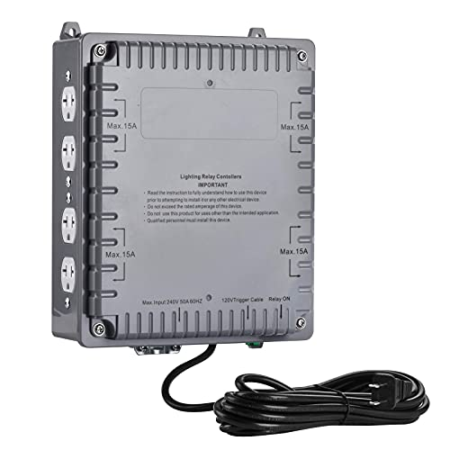 Adini 8000W 8-Light Relay Controller with Trigger Cord for Hydroponics Indoor Grow Lighting