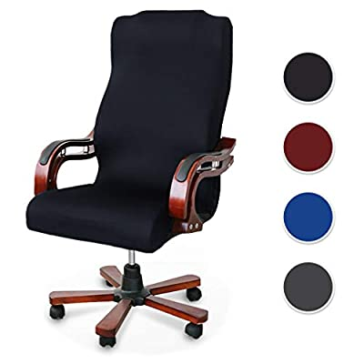 Homcosan Office Chair Cover Computer Boss Rolling Chair Slipcovers Stretchable Spandex Modern Simplism Style High Back, Comfortable Anti-Dust Chair Furniture Protector with Zipper(Black, Large)