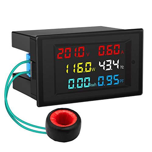 AC Display Meter, DROK 80-300V 100A Voltage Current Power Factor Frequency Electric Energy Monitor Ammeter Voltmeter Multimeter Tester 110V 220V Digital Color LCD Volt Amp Watt Detector Reader Panel