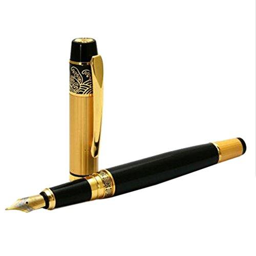 Penna stilografica MagiDeal Hero 901 Medium, di lusso, nera e oro, in acciaio inossidabile.
