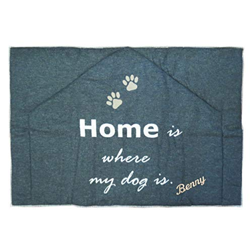 Fussenegger Hundematte mit Wunsch-Name bestickt 80 cm x 120 cm gefüttert home is where my dog is mit Name personalisiert SILVRETTA anthrazit