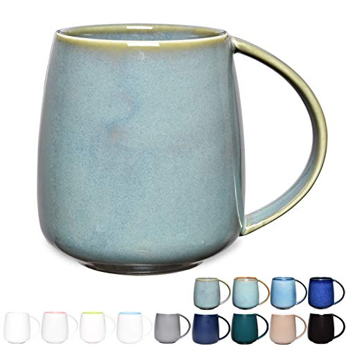 Bosmarlin Matte Ceramic Coffee Mug, Tea Cup for Office and Home, 13 oz, Dishwasher and Microwave Safe, 1 Pack (Sage Green(Glossy))