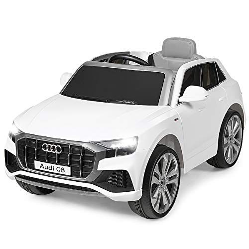 Costzon Ride on Car, Licensed Audi Q8, 12V Battery Powered Electric Vehicle w/2 Motors, 2.4G Remote Control, LED Lights, MP3, Horn, Music, Spring Suspension, Kids Ride on Toys for Boys & Girls (White)