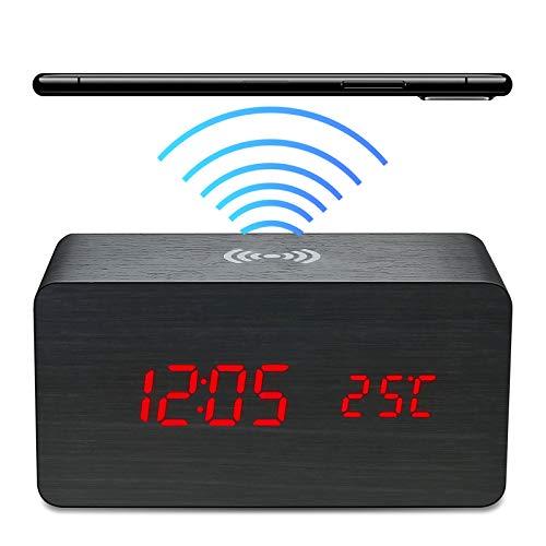 Bluetooth Despertador Digital LED con 10W Cargador Inalambrico, Reloj Mesita de Noche con Funciones Ajuste Brillo y Control Audio, Despertadores Digitales con 2 Modos Visualización