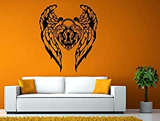 Wall Decals Cute-Love Heart Angel Wings Love Lock Key Beautiful Ornament Wall Stickers Decals Vinyl Mural Decor Art - Made in USA-Fast delivery