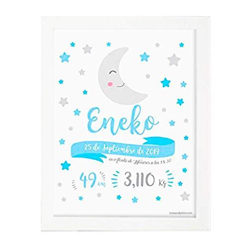 Cuadro Natalicio Luna + Marco personalizado con datos de nacimiento del bebé. Regalo original de recuerdo de nacimiento.