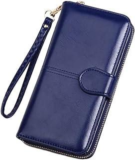GUMAOPAJIAAAqb Monederos de Mujer, Leather Women Long Zipper Oil Wax Wallet Big Capacity Hasp Zipper Purse Ladies Long Wri...