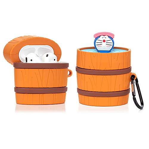 YIGEYI Silicone Case Compatible with Airpods 1&2 Funny Cute 3D Cartoon Cover [Bath Barrel Series] (Doramon)