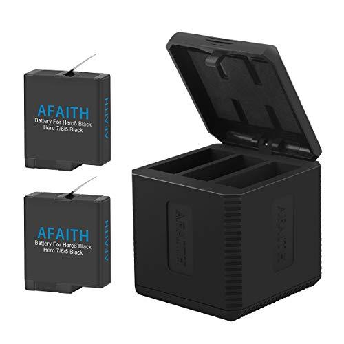 AFAITH Cargador de batería para gopro, Cargador rápido de 3 canales +...