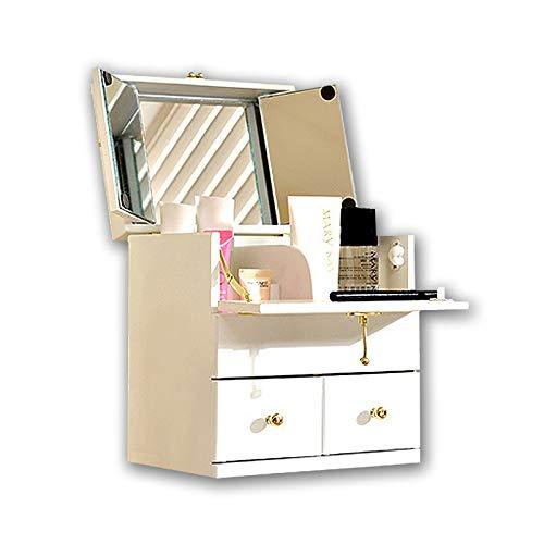 YNLRY Cas Cosmétique en Bois Massif Cosmétiques Boîte De Rangement des Ménages Coiffeuse Cas Cosmétique avec Miroir Couvert De Bureau Dressing Box (Color : White, Size : 24 * 18 * 26CM)