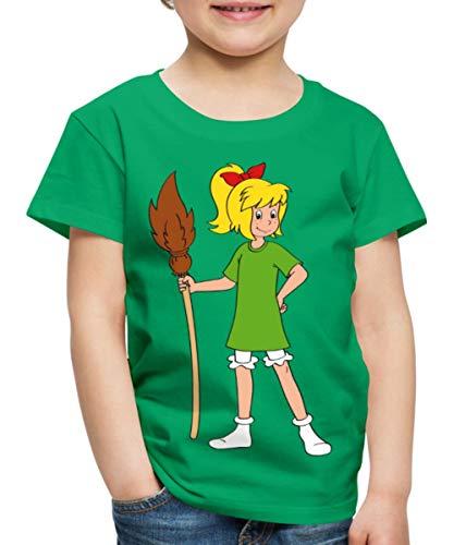 Bibi Blocksberg Mit Ihrem Besen Kartoffelbrei Kinder Premium T-Shirt, 134/140 (8 Jahre), Kelly Green