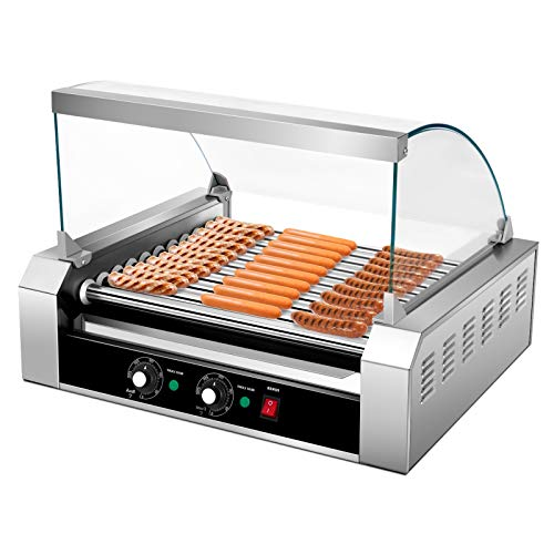 Happygrill Electric Sausage Grill Stainless Steel Hot Dog Roller Grill Cooker 1650W Sausage Grilling Machine with 11 Rollers for 30 Hotdogs