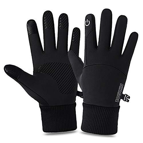 ZOLUIKIS Fahrradhandschuhe Touchscreen rutschfest Handschuhe Damen Herren Winddicht Sport Gloves für Laufen Radfahren Motorrad,Schwarz,L