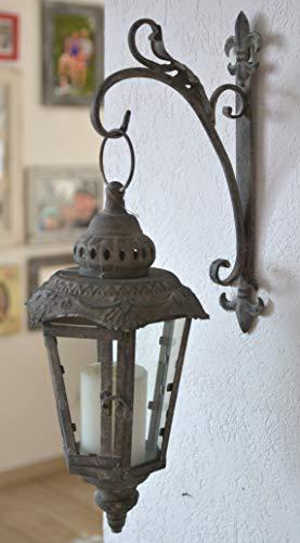 Maison en France Laterne stabile hübsche Wand-Metall Laterne mit Glaseinsatz und Halter