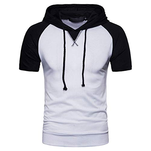 JPDD Men Summer T-Shirt Hipster Hip Hop Lightweight Hoodies Drawstring Short Sleeve Buttons Patchwork Pure Color Polo Shirts Casual Classic Sweatshirt Hooded Tops Men Short Sleeve Pullovers